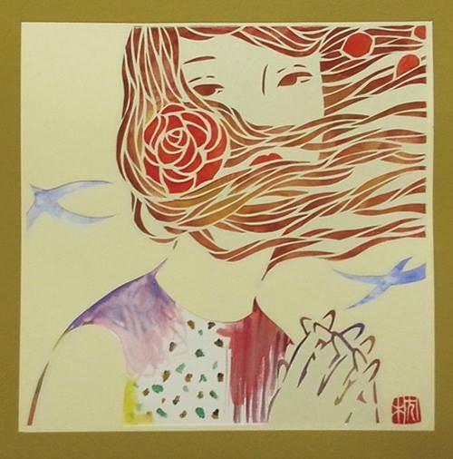 花衣2014 140×140mm Rasha paper,vifart Paper cutting,Water color(顔彩)