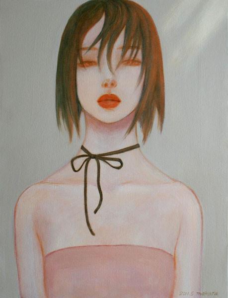 黒いリボンの少女 sold/2011 Acrylics gouacheキャンバス