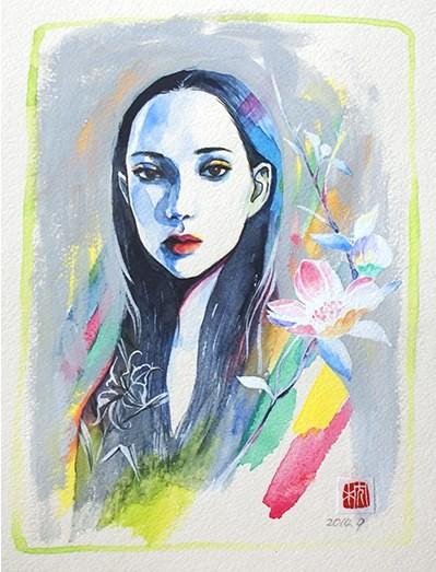 彩2014  約145×200mm Clester,Water color(顔彩),Acryl gouache