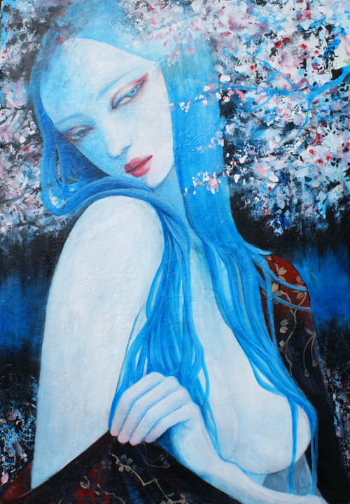 桜のした sold/2010 Acrylics gouache木製パネル