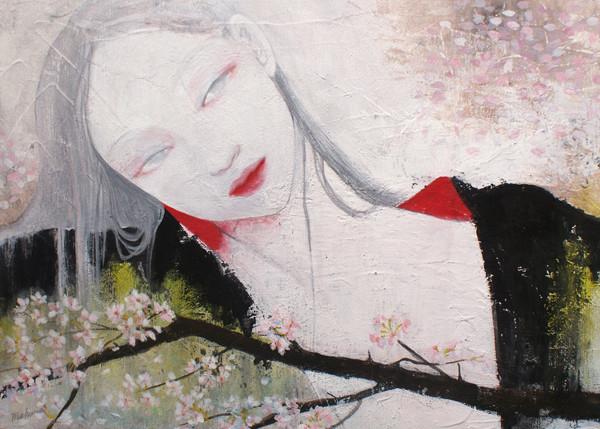 桜 sold/2009 Acrylics gouache木製パネル