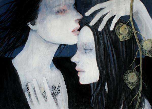 嘘 sold/2009 Acrylics gouache木製パネル
