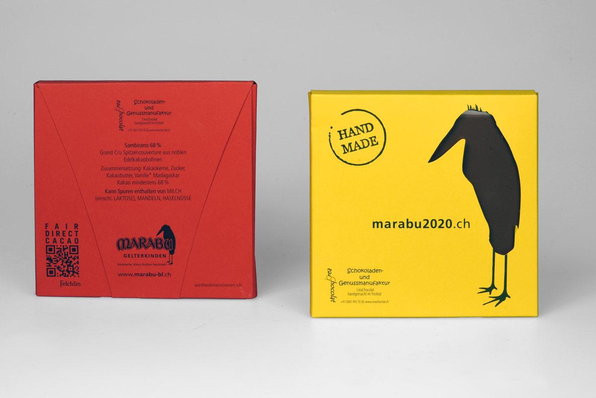 Gestaltung Packaging Marabu Schokolade, Gelterkinden
