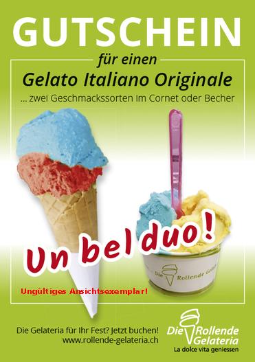 Die Rollende Gelateria – Gutscheinflyer – Design by Werbedimensionen.ch