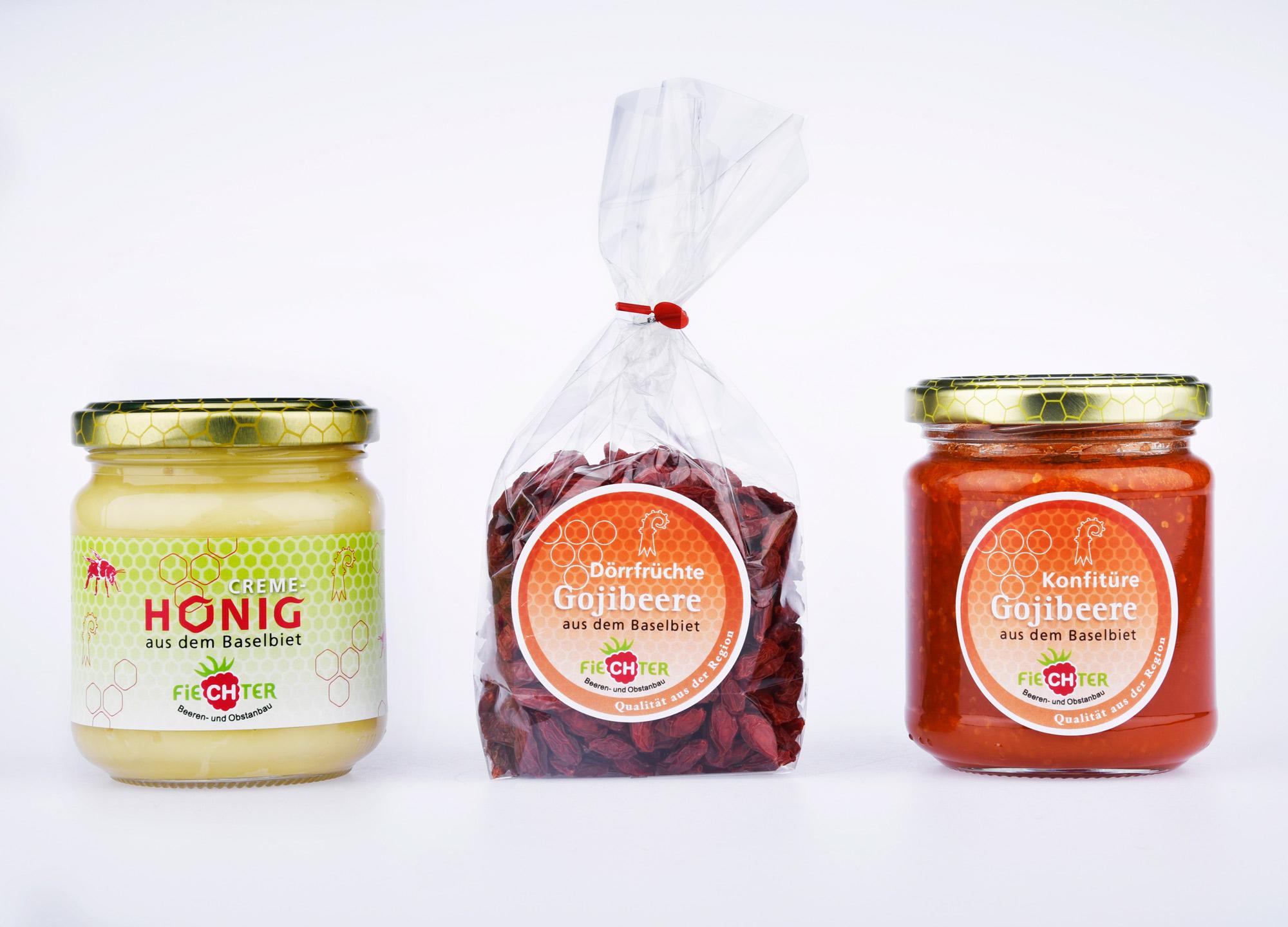 Gestaltung Etikette Honig und Beeren für Fiechter Beeren, Diegten