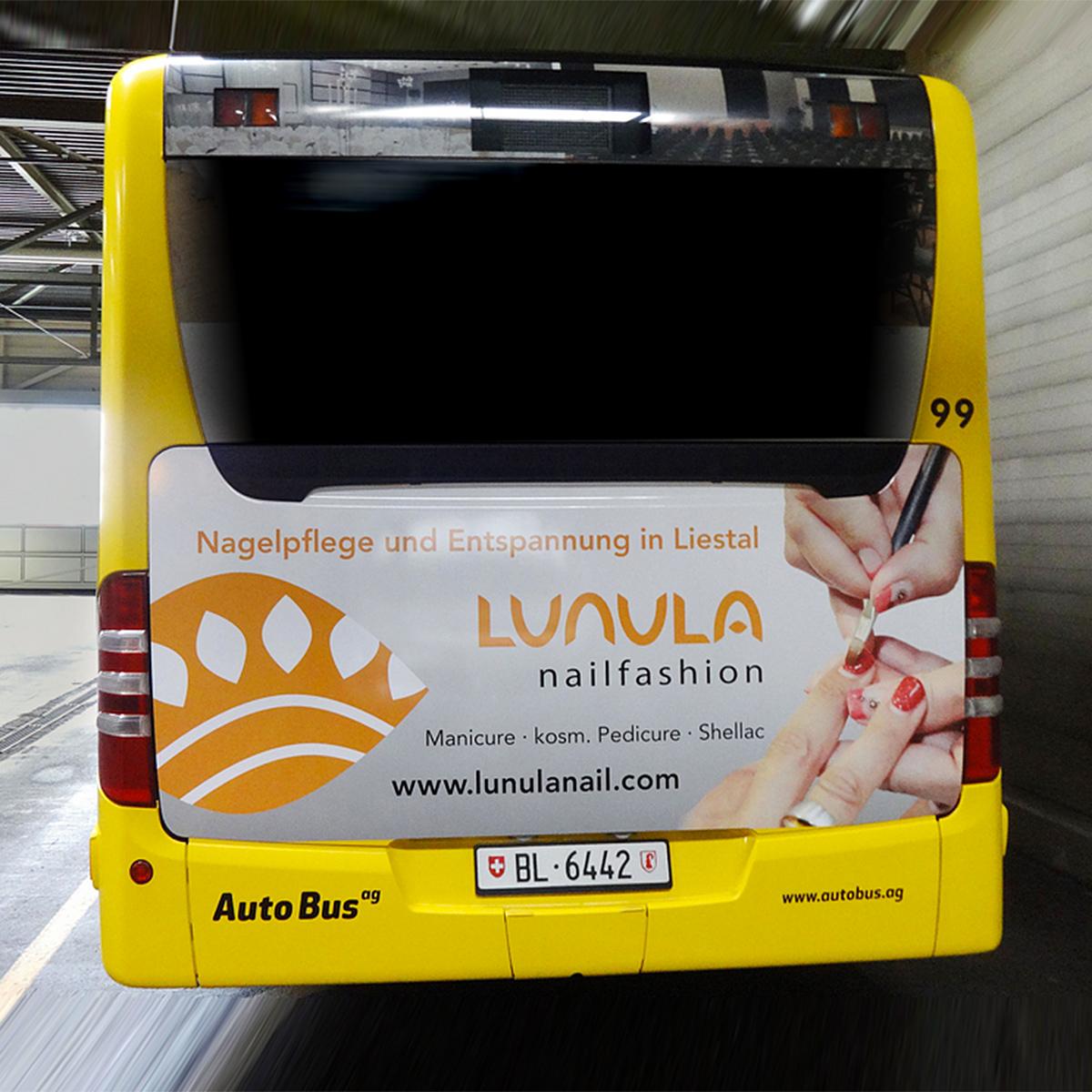 Busbeschriftung, Traffic Board, LUNULA nailfashion, Liestal
