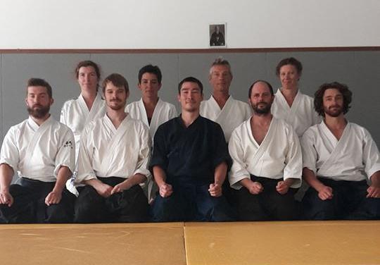 Stage Issei Tamaki organisé par Kishinkai Aïkido Rives-Charnècles au dojo de l'Aïkido club des 4 Montagnes - 27 août 2017 - Crédit : S.Gousseau