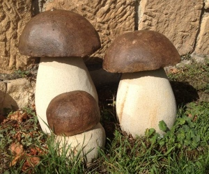 escultura en piedra decoracion sostenible boletus edulis en piedra invertirenfamilia.com