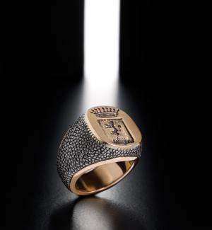 13 IdB Imprimatur martellatura galuchat, inserto e tavola in oro - Iron signet ring with gold