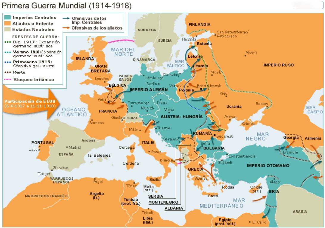 Resultado de imagen de mapa histórico I Guerra mundial