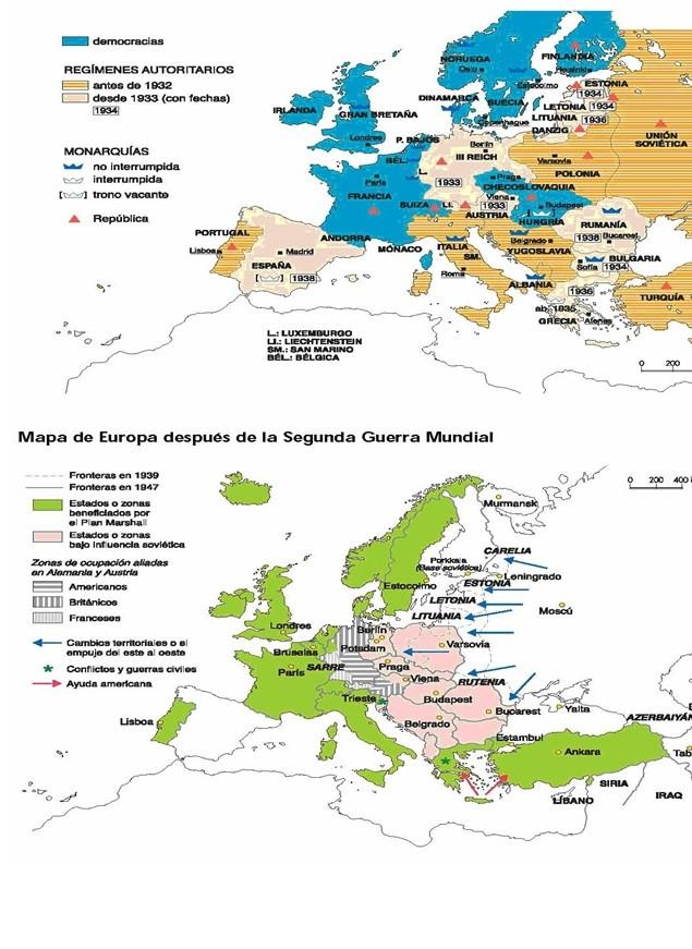 Mapas antes y después del confllicto.