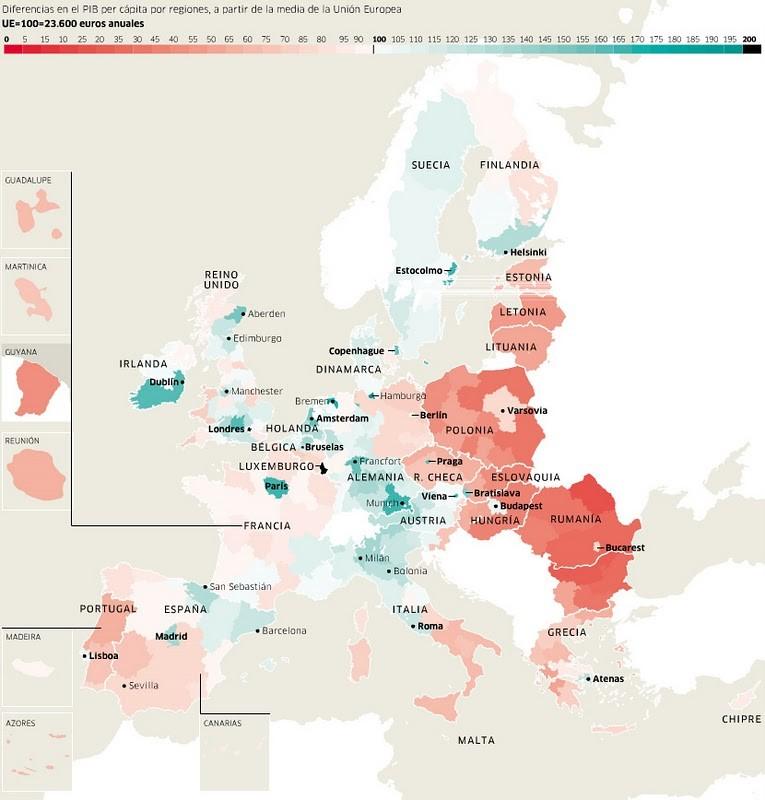 DIFERENCIAS REGIONALES DE RENTA PER CÁPITA EN EUROPA (a partir de la media europea).