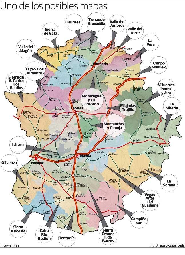 Mapa de posible comarcalización de Extremadura-