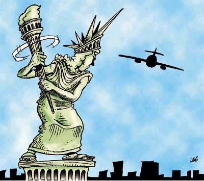 La estatua de la Libertad jugando al beisbol...