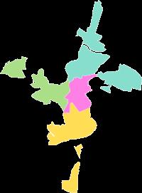 Mapa de la división en distritos de Cáceres.