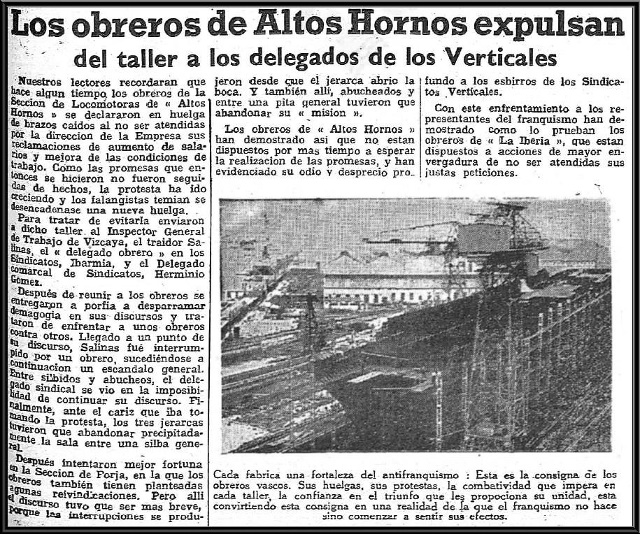 HHuelga de obreros de Altos Hornos de Vizcaya contraria a la intromisión del Sindicato Vertical en 1945.