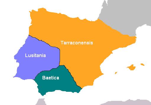 División administrativa de Hispania en el Alto Imperio.