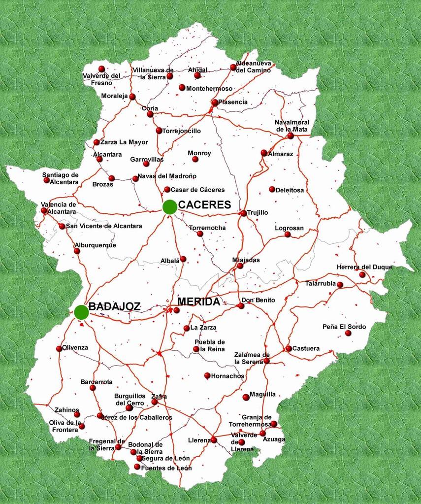 Mapa de carreteras de Extremadura.