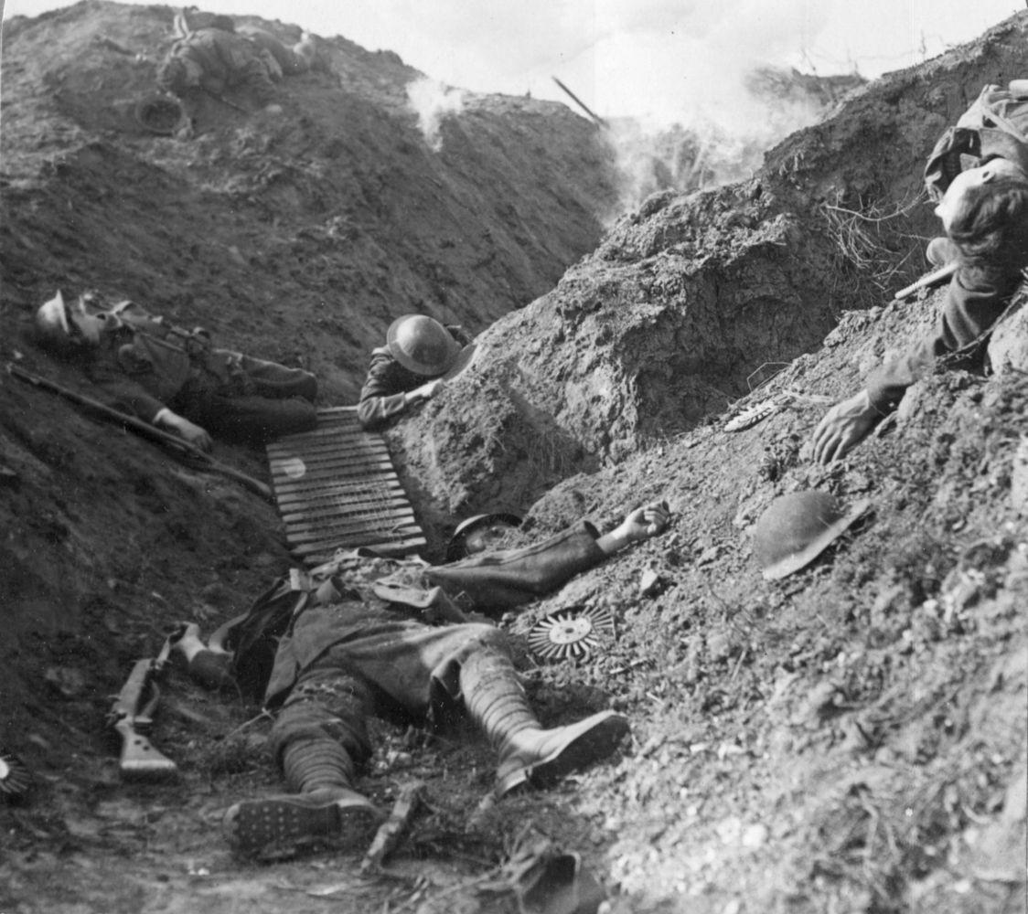 Soldados muertos en las trincheras