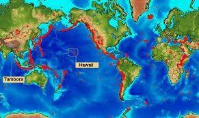 Mapamundi de alto riesgo sísmico.