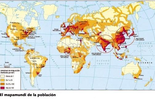 LA DISTRIBUCIÓN DE LA POBLACIÓN MUNDIAL. Mapa 2.Ekumenes y anekumenes.