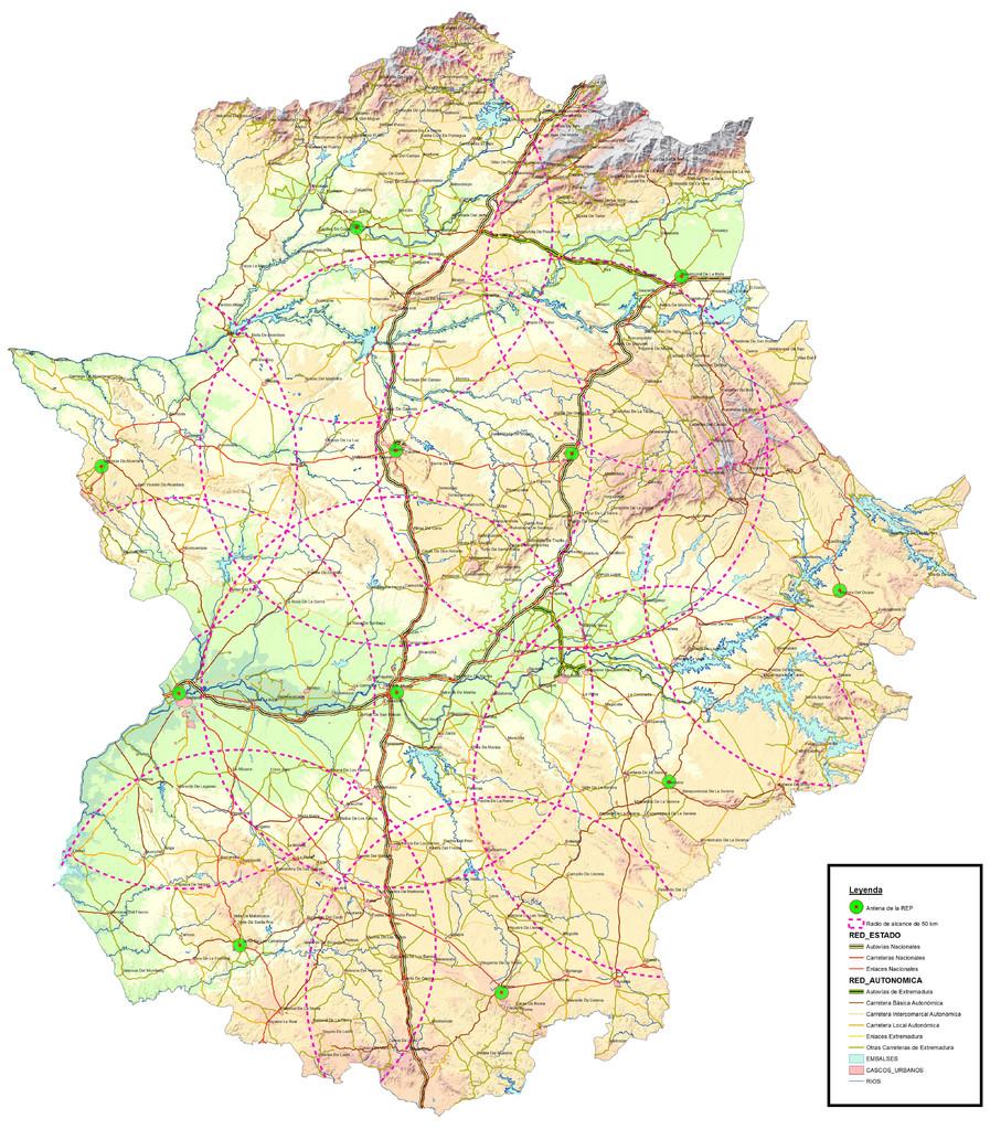 Mapa general de Extremadura
