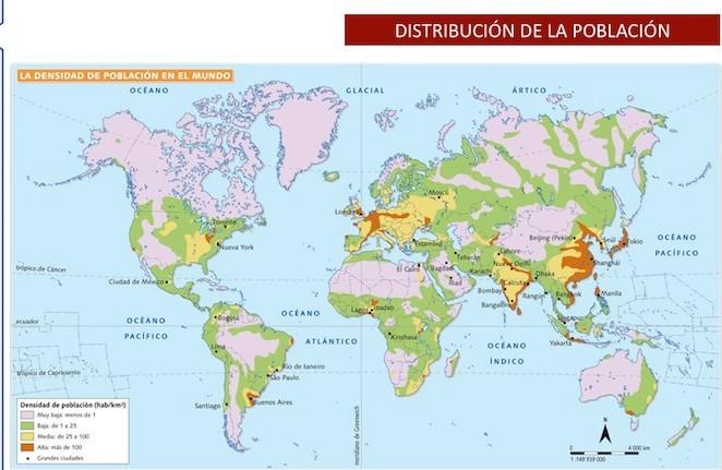 LA DISTRIBUCIÓN DE LA POBLACIÓN MUNDIAL. Mapa 1.