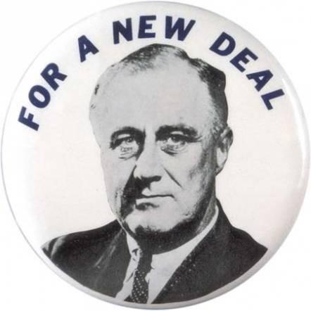 Cartel de F.D. Roosevelt anunciando el New Deal.
