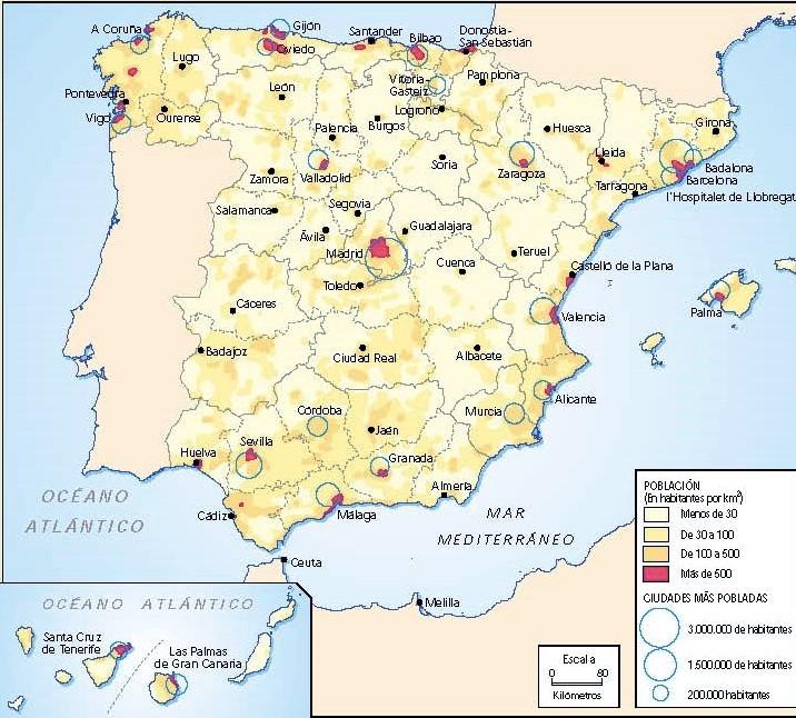 La distribución de la población española.