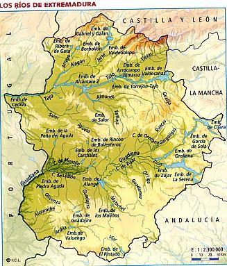 Mapa de Rios en Extremadura I.