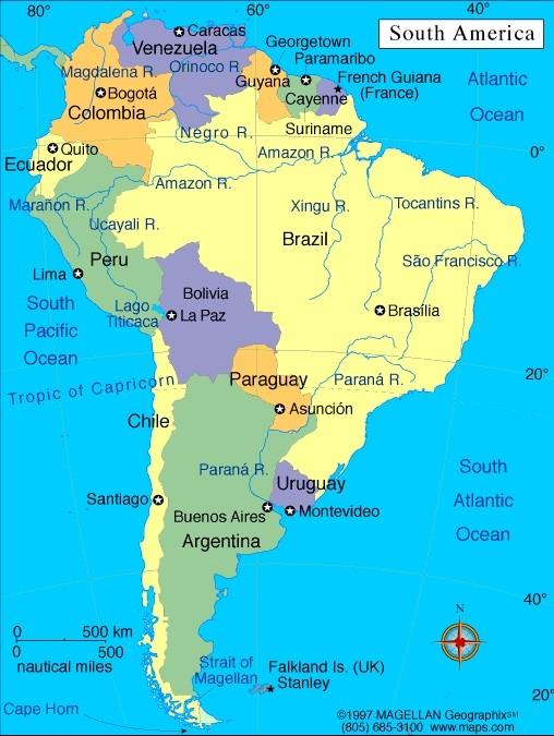 Mapa de la actual Sudamérica.