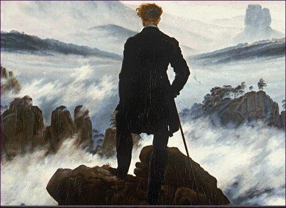 C. David Friedrich. Viajero junto al mar de niebla, detalle.