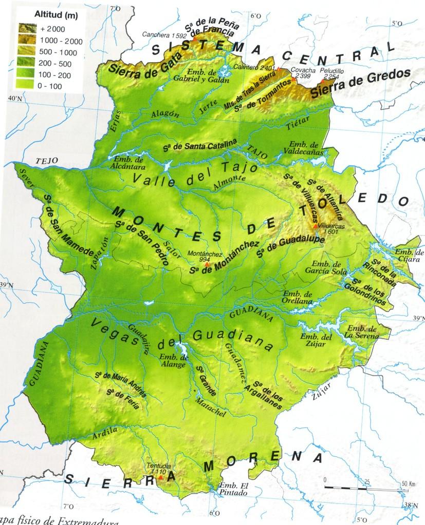 Mapa Fisico De Extremadura  threeblindantscom