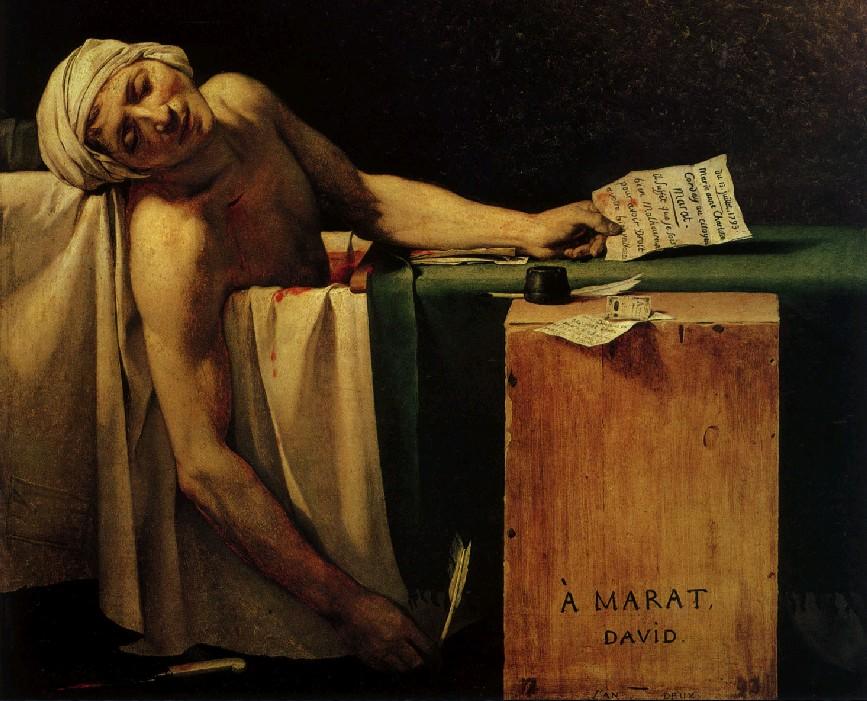 La muerte de Marat, detalle.