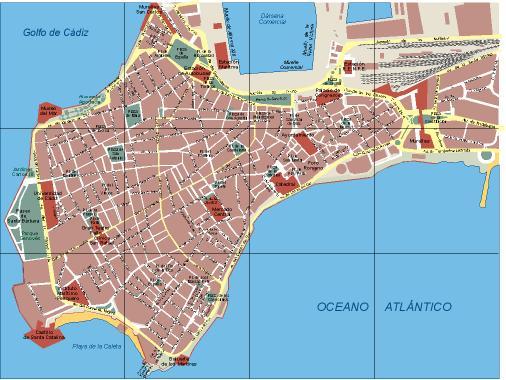 Plano urbano de Cádiz.