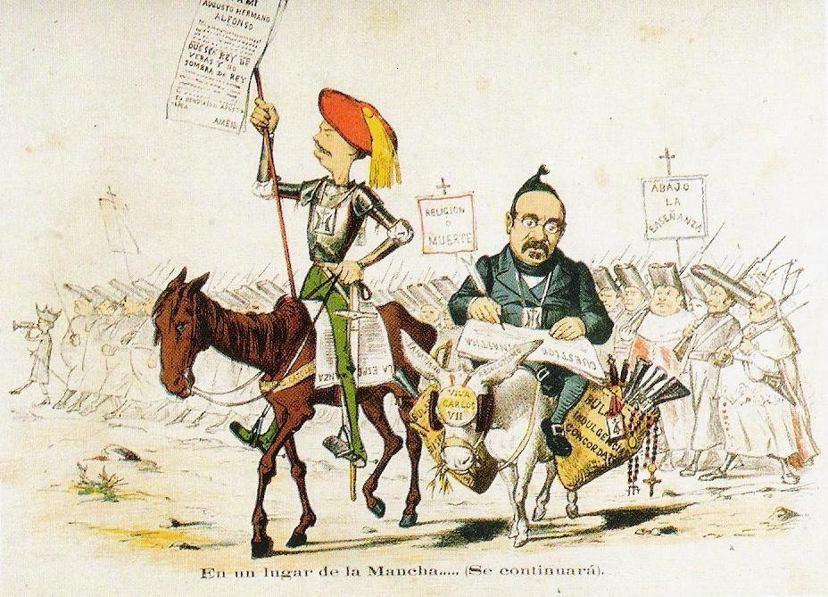 Caricatura con diversos motivos críticos, agosto de 1869. El político antiliberal Cándido Nocedal interpreta el papel de Sancho Panza. La jerarquía eclesiástica aparece como telón de fondo.