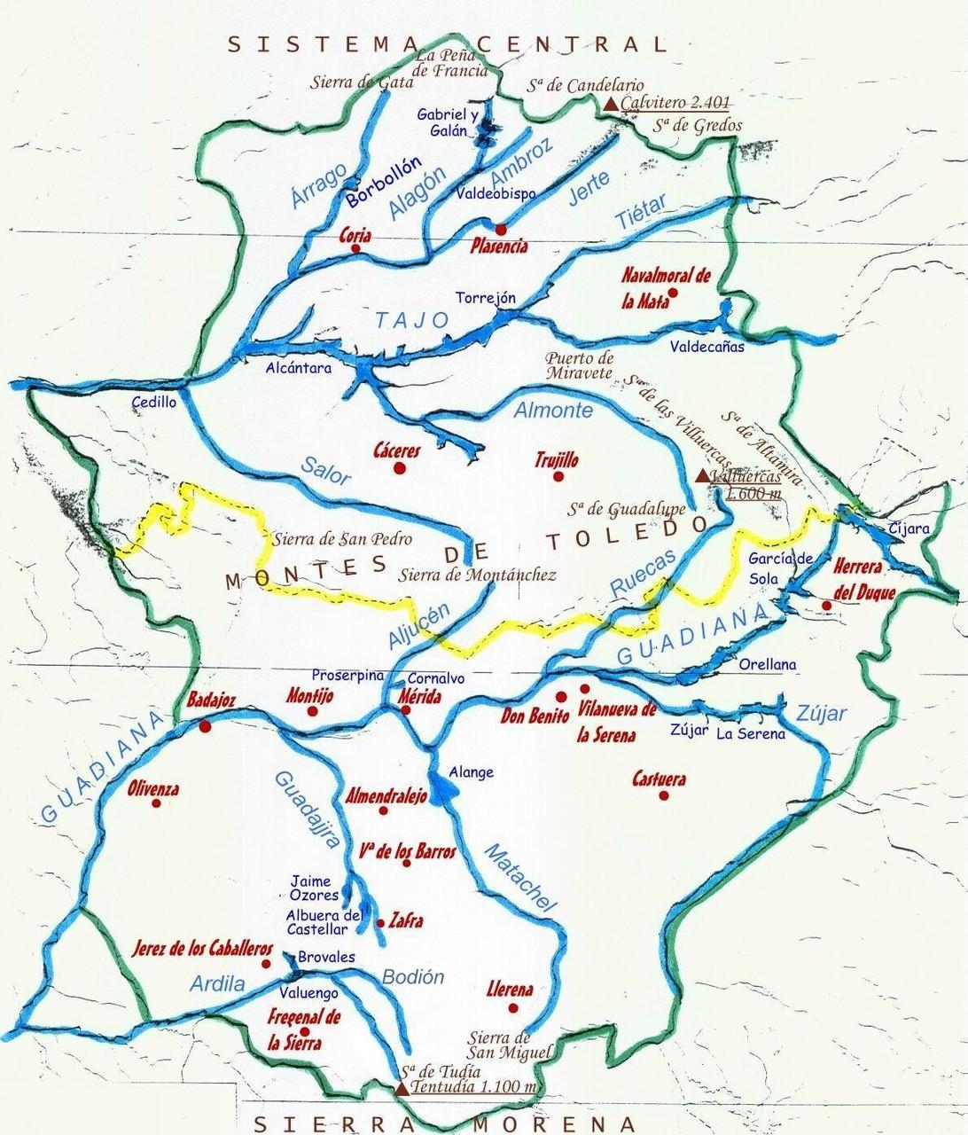 Mapa de Rios en Extremadura II.