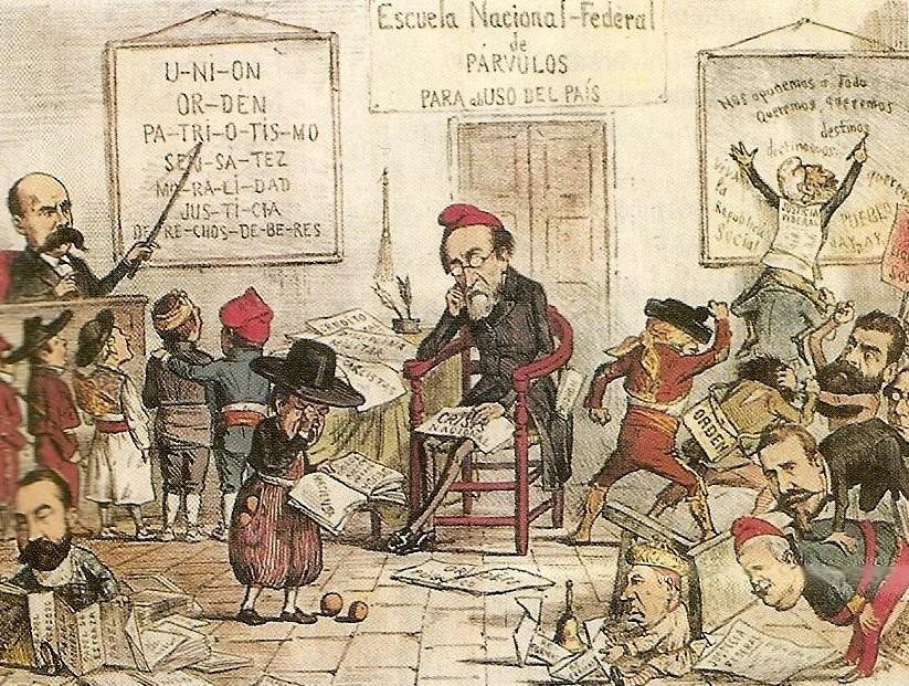 Caricatura sobre la I República. Entre los protagonistas principales: Emilio Castelar y Pi i Margall.