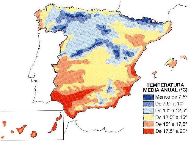 MAPA DE LAS TEMPERATURAS MEDIAS ANUALES.