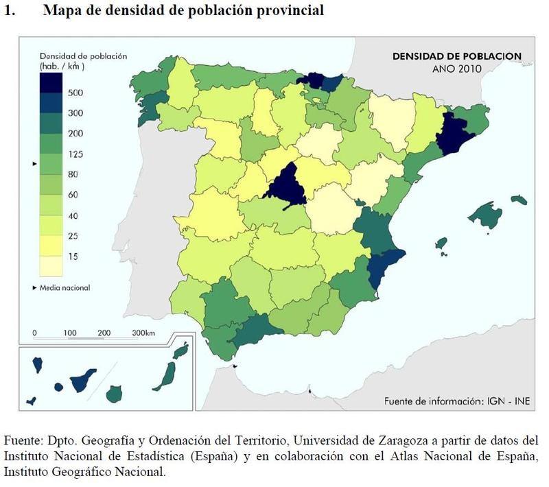 La densidad provincial española.