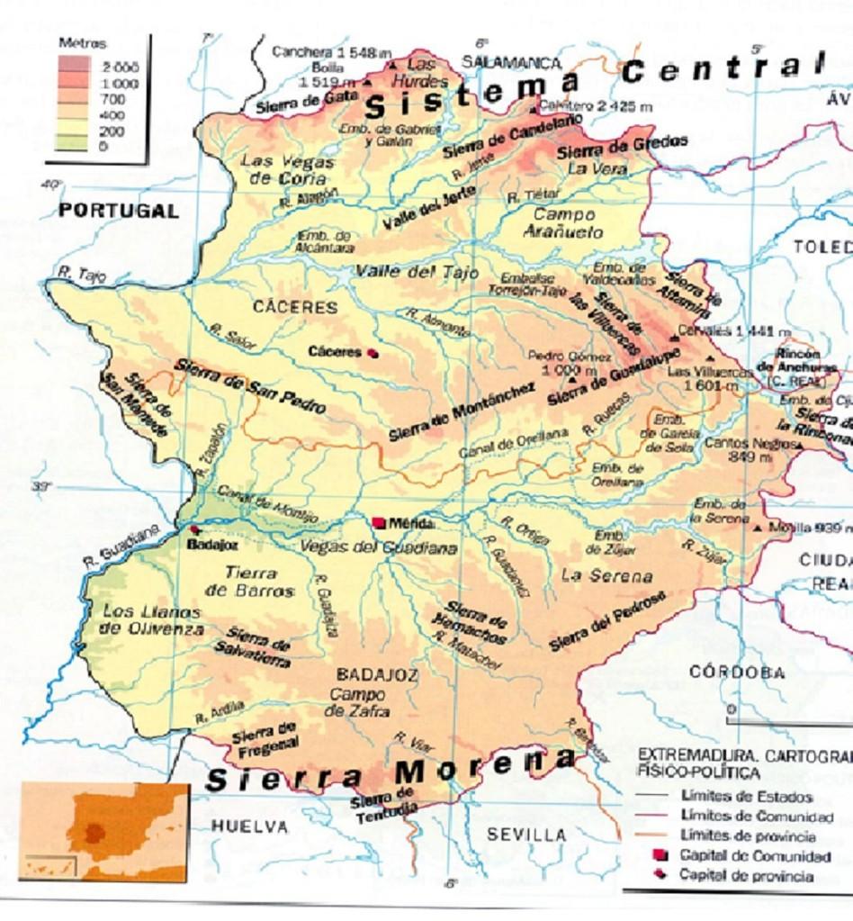 Worksheet. MAPAS FSICOS DE EXTREMADURA  Recursos de Geografa e Historia