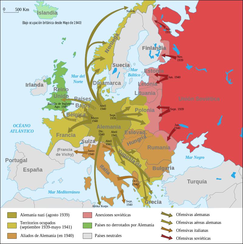 Mapa del desarrollo bélico de la II Guerra Mundial.