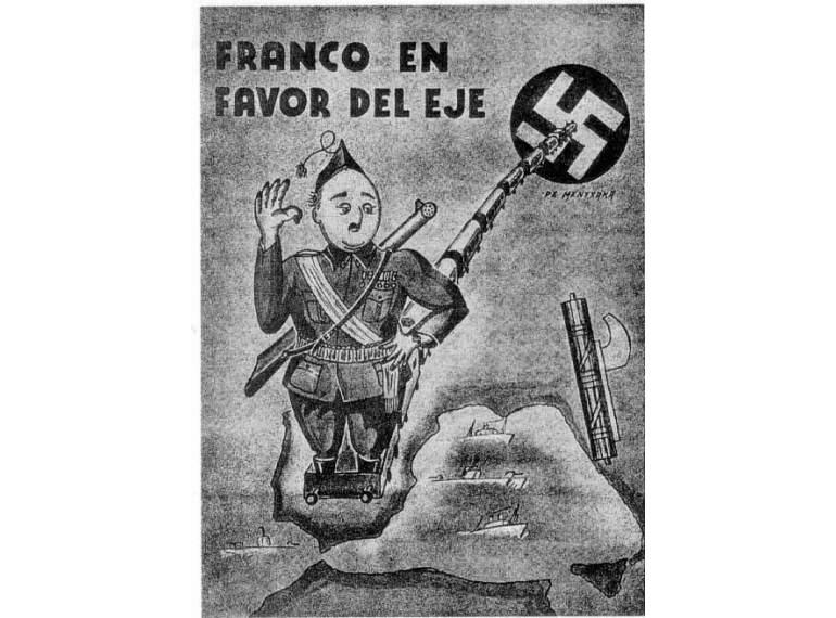 Caricatura de Franco apoyando el Eje Roma-Berlín.