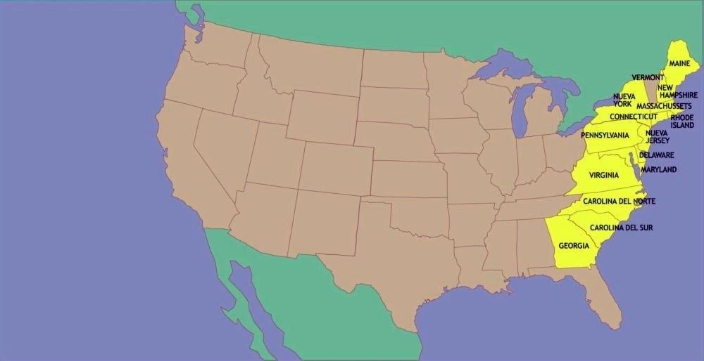 Las Trece colonias en 1776.