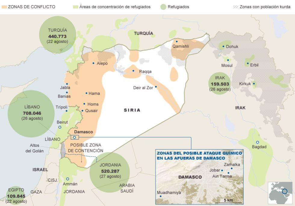 Mapa de Siria y el conflicto armado.