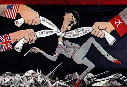 Hitler estrangulado por los aliados.