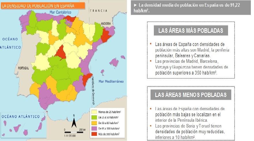 Mapa de la densidad provincial y comentario.