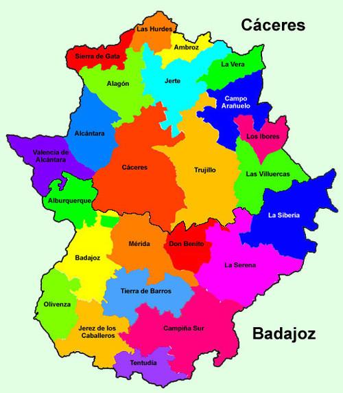 Mapa de las comarcas administrativas (Programa Leader) de Extremadura.