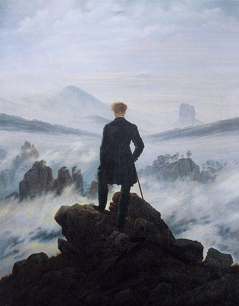 El caminante sobre el mar de nubes de Caspar David Friedrich, 1817-1818.