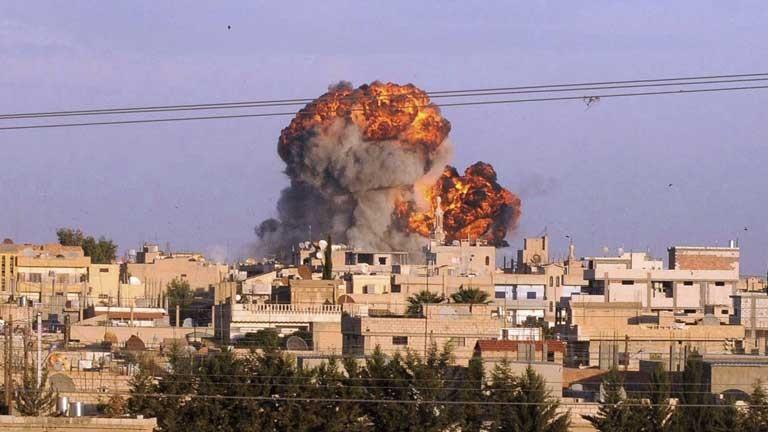 Bombardeo de la ciudad vieja de Damasco.